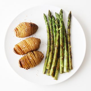 Green Asparagus and Hasselback Potatoes Cover