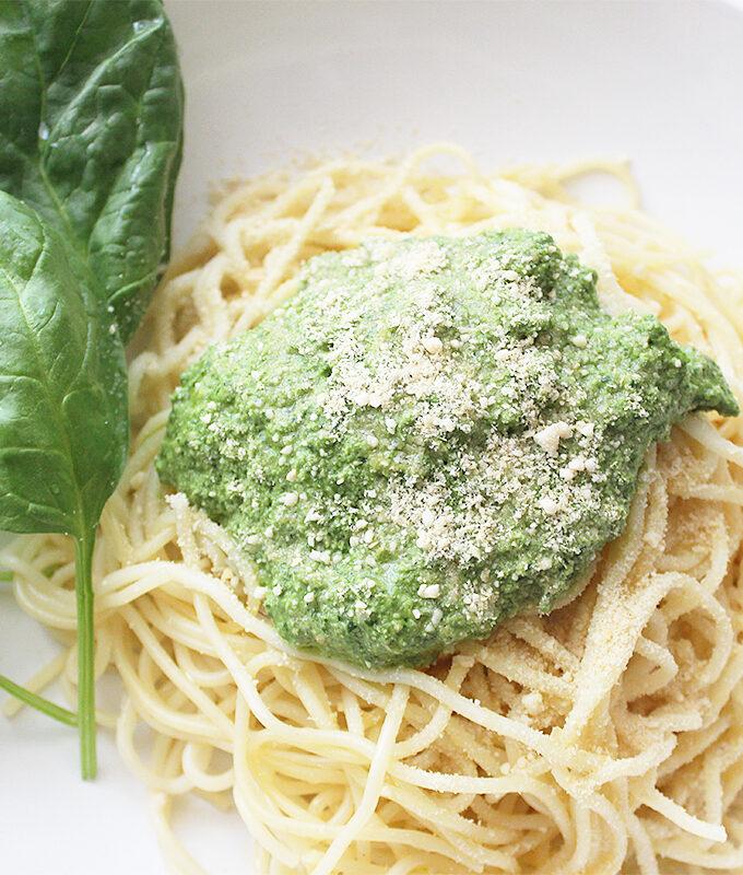 Spinach Basil Pesto Spaghetti