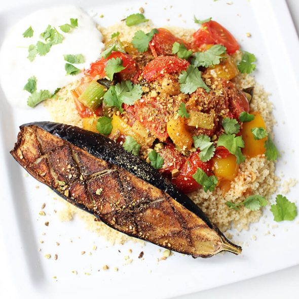 Vegetable Couscous with Roasted Eggplant Cover