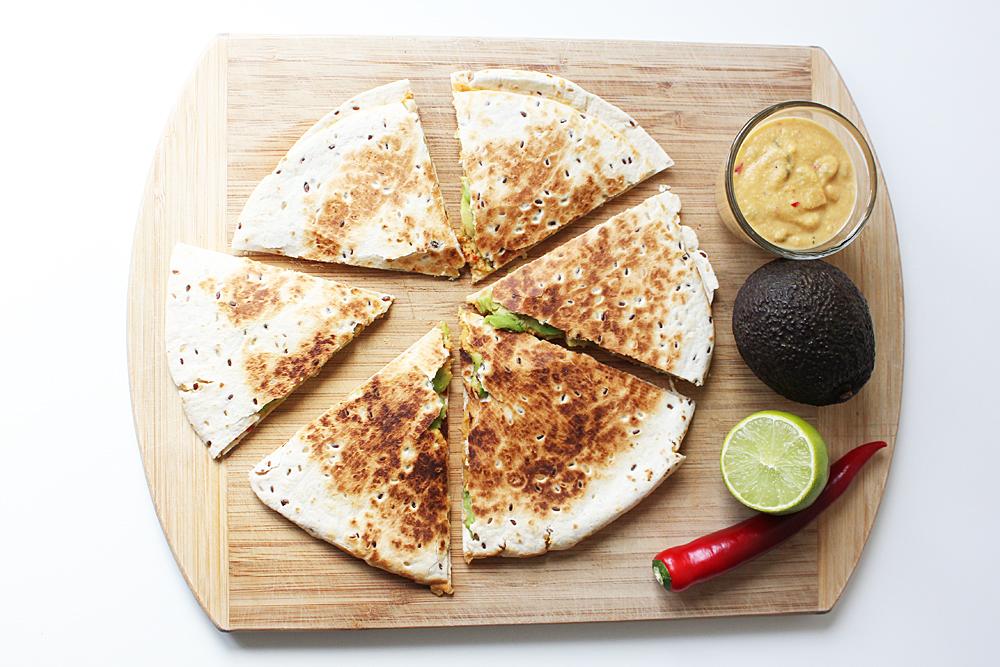 Vegane Quesadilla mit Nachokäse