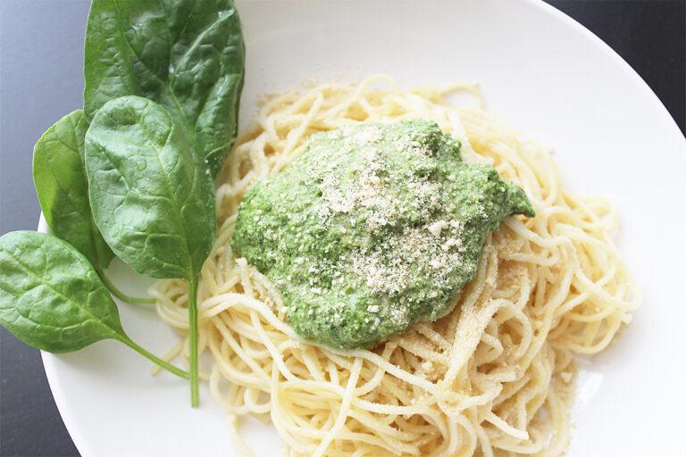 Spinat-Basilikum-Pesto Spaghetti