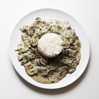 Vegan Mushroom Stroganoff With Rice Cover