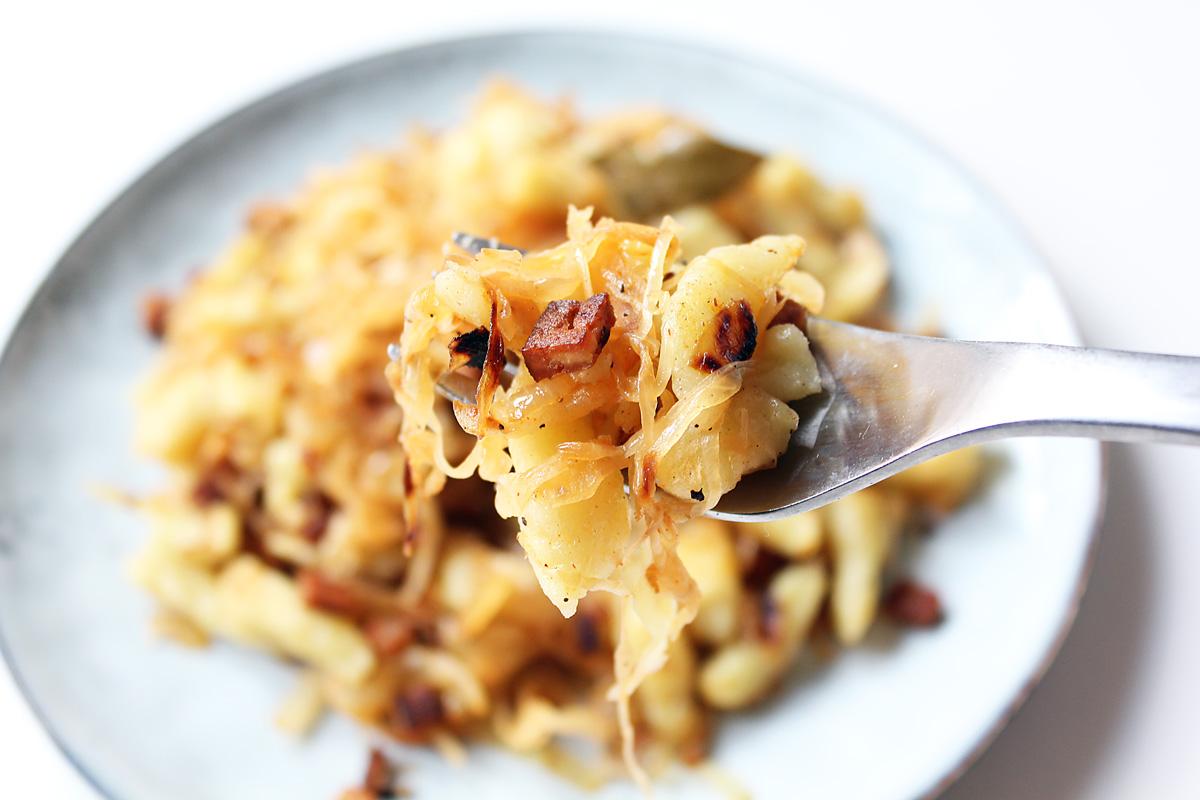Sauerkraut Spaetzle with Smoked Tofu