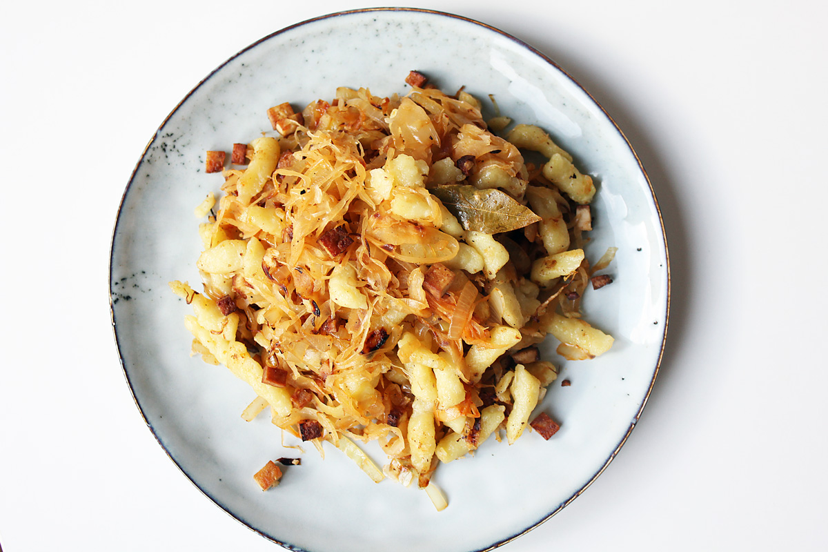 Sauerkraut Spaetzle with Smoked Tofu