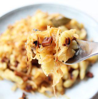 Sauerkraut Spaetzle with Smoked Tofu Cover
