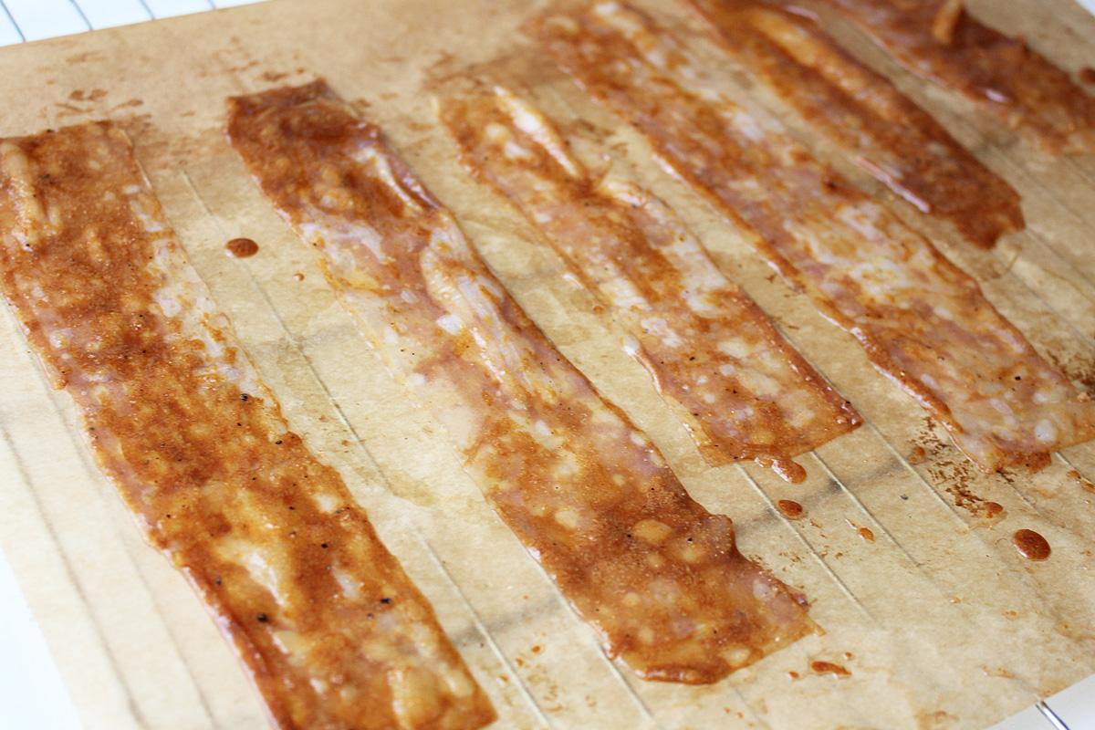Veganer Bacon aus Reispapier