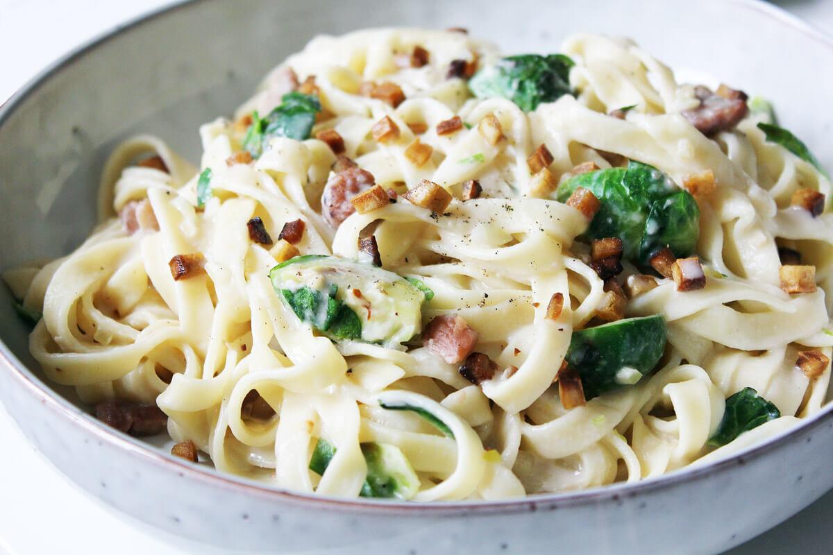 Rosenkohl-Maronen-Pasta (Vegan)