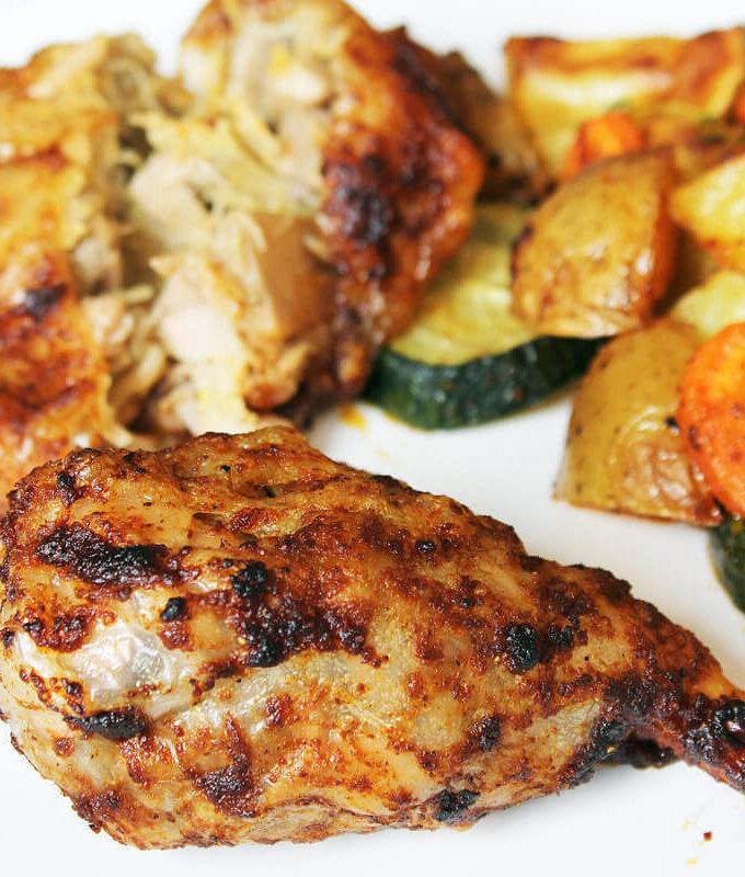Vegan Chicken Drumsticks On Roasted Vegetables