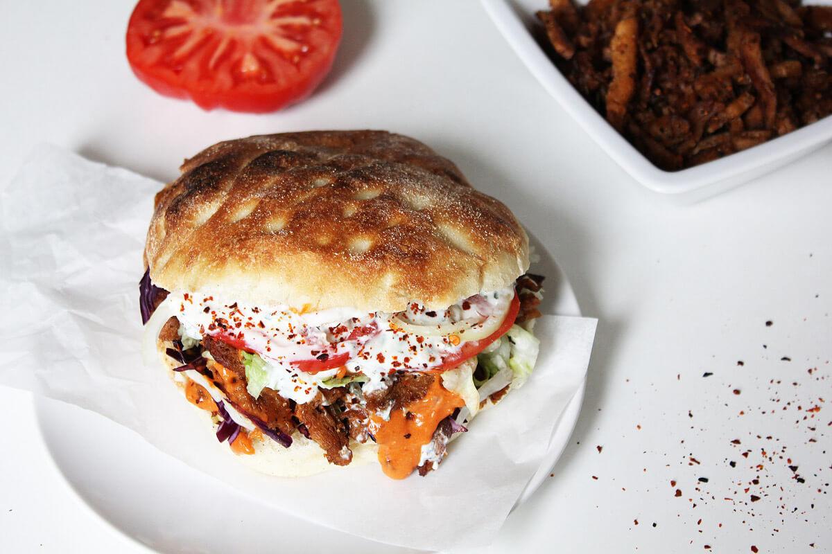 Vegan Döner Kebab with Two Sauces