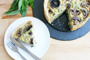 Vegan Wild Garlic Quiche with Mushrooms