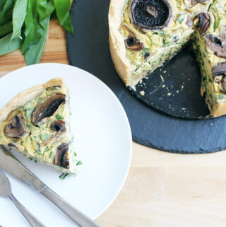 Vegan Wild Garlic Quiche with Mushrooms