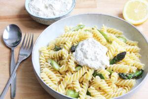 Vegan Asparagus Lemon Pasta with Ricotta