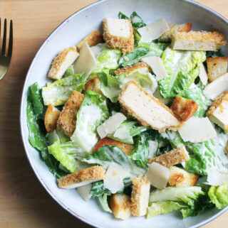 Vegan Caesar Salad With Crunchy Tofu