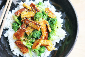 Vegan Tempeh and Broccoli with Rice