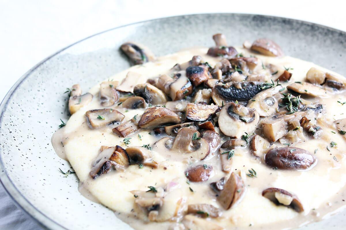 Creamy Vegan Polenta with Mushroom Ragù