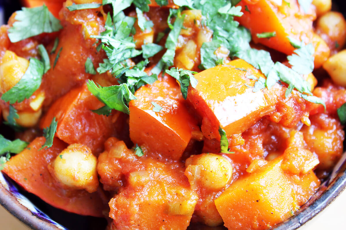 Pumpkin Chickpea Curry with Chapati