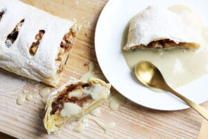 Vegan Puff Pastry Apple Strudel With Vanilla Sauce