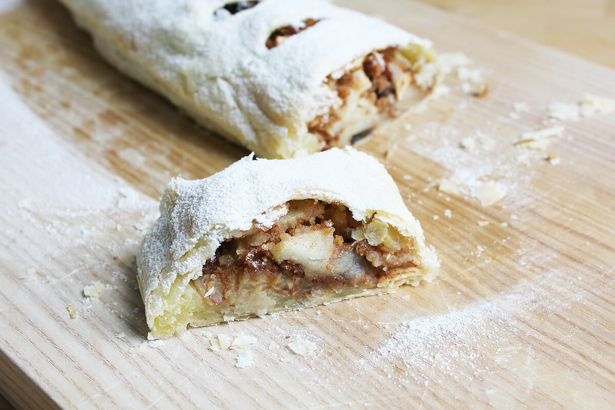 Vegan Puff Pastry Apple Strudel With Vanilla Sauce