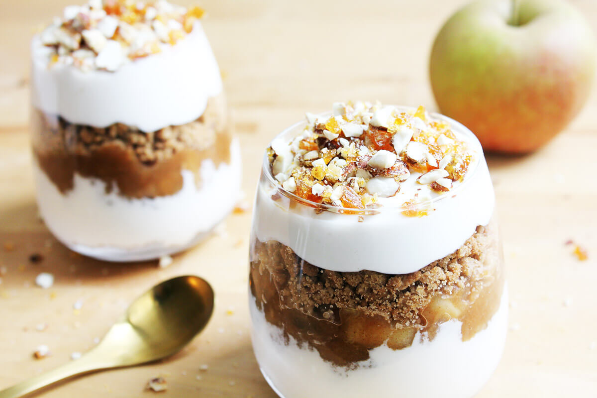 Vegan Baked Apple Tiramisu In A Glass