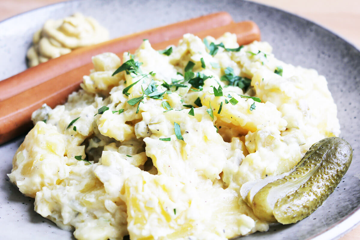 Vegan Potato Salad with Sausages
