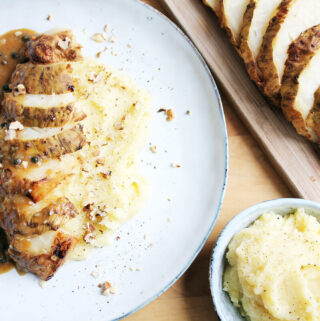Baked Celeriac with Mashed Potatoes and Creamy Cognac Pepper Sauce
