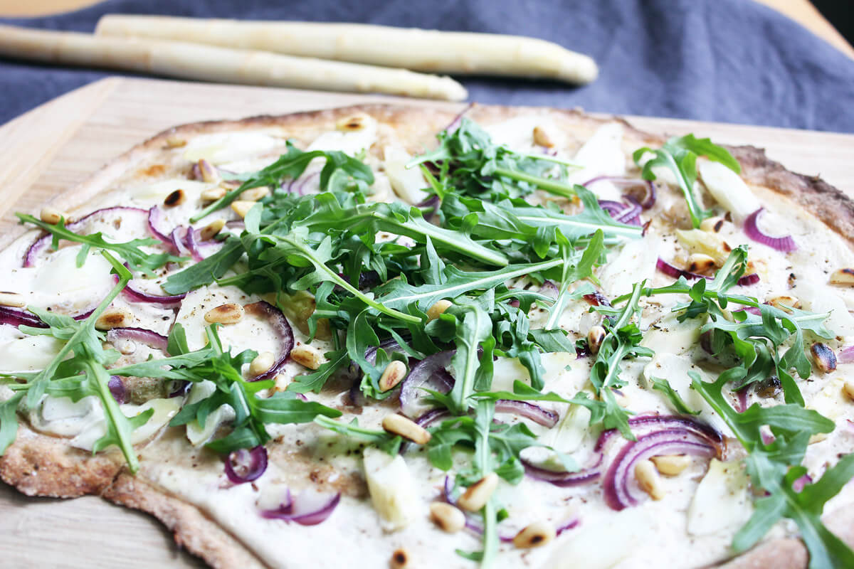 Vegan Asparagus Tarte Flambée with Rocket
