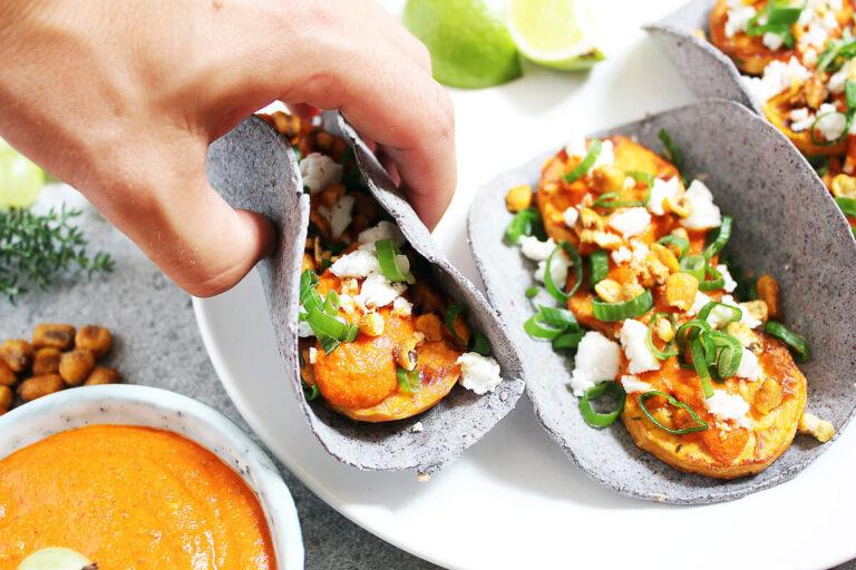 Vegane Süßkartoffel Tacos