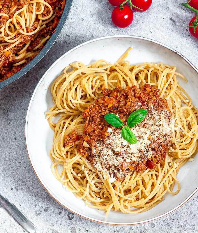 Vegane Spaghetti mit Ragù di Salsiccia