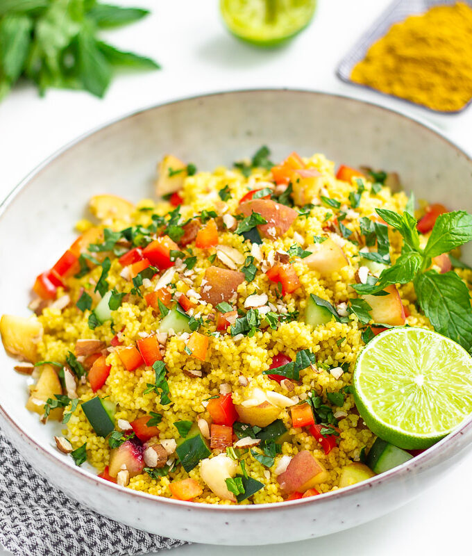 Couscous Salad with Peach and Mint