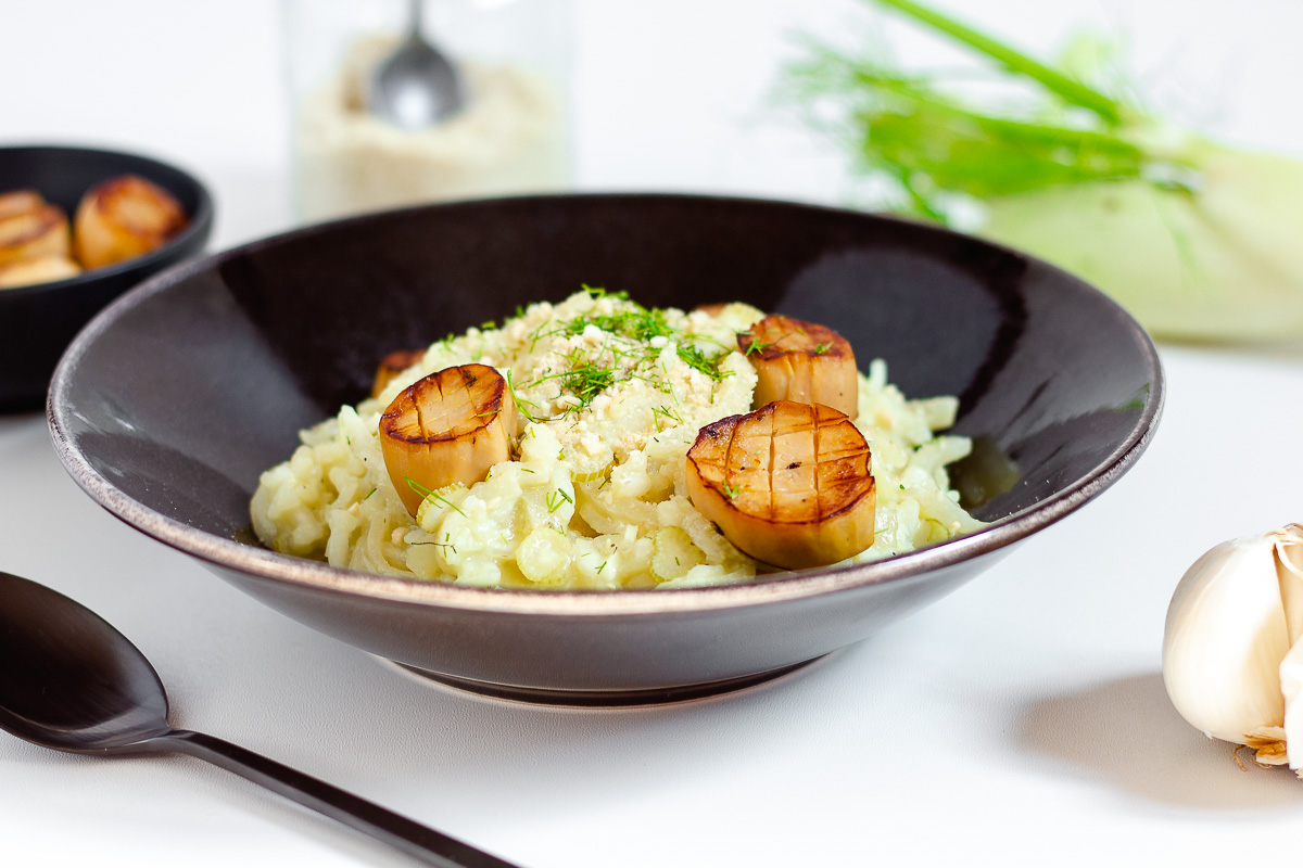 Fennel Risotto with Vegan Scallops
