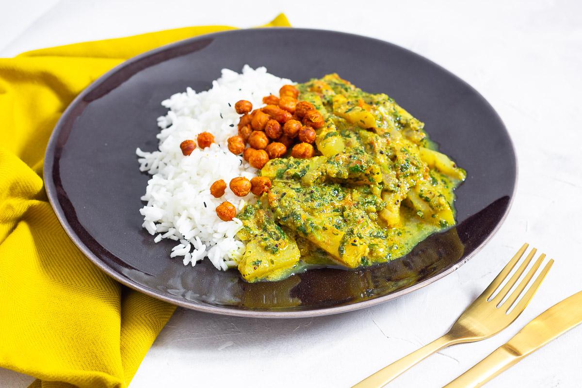 Kohlrabi-Curry mit gerösteten Kichererbsen