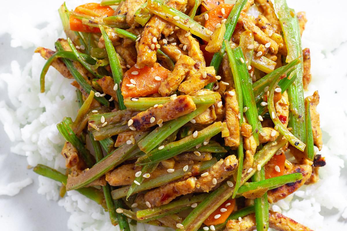 Sichuan Style Celery Tempeh Stir-Fry