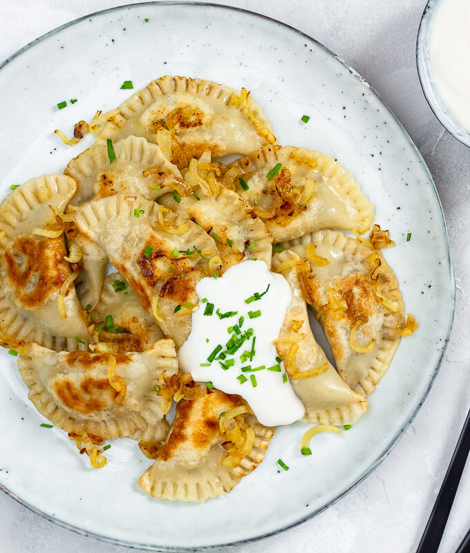 Vegan Pierogie with Mushroom Sauerkraut Filling