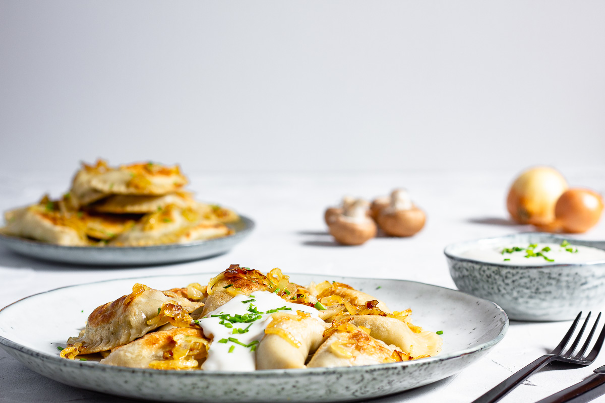Vegan Pierogie with Mushroom Sauerkraut Filling
