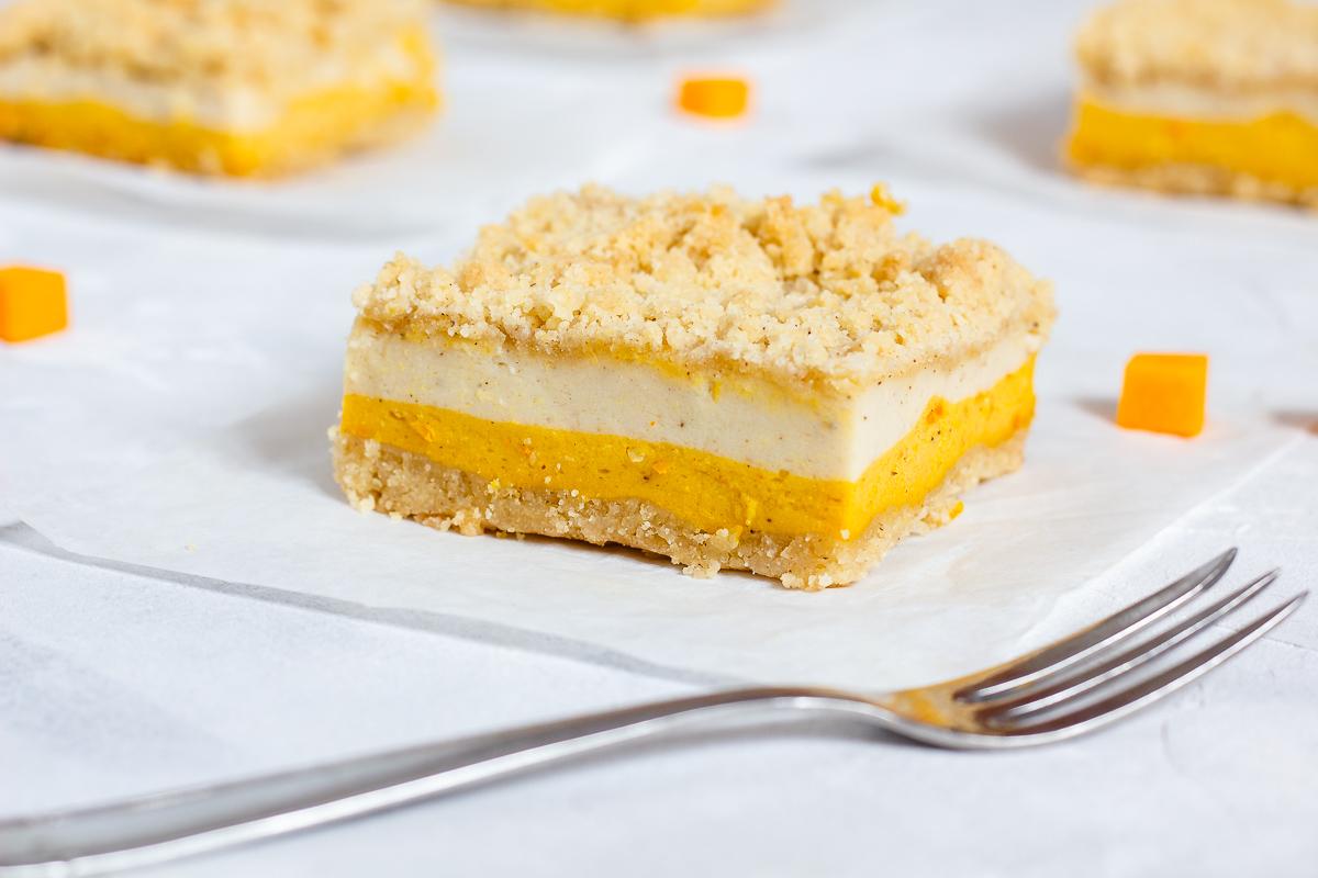 Vegan Pumpkin Cheesecake Bars