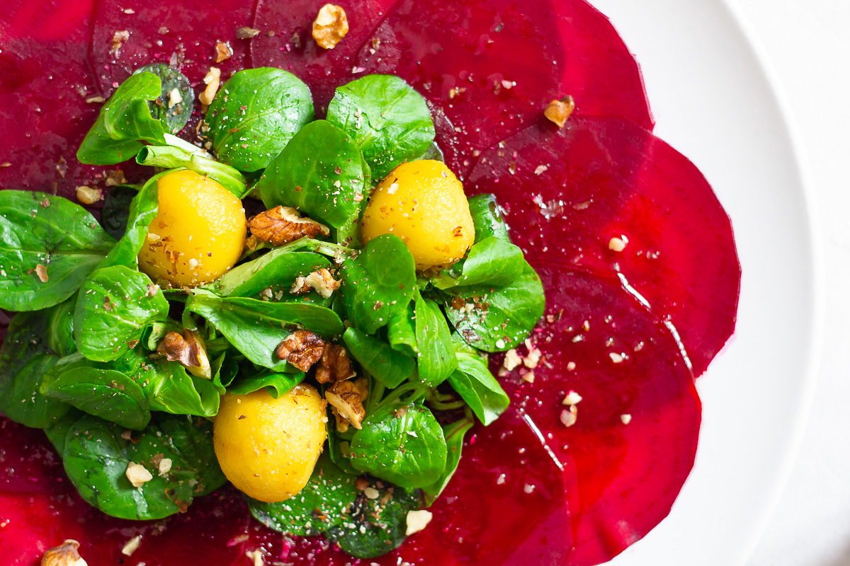 Beetroot Carpaccio with Apple and Walnut