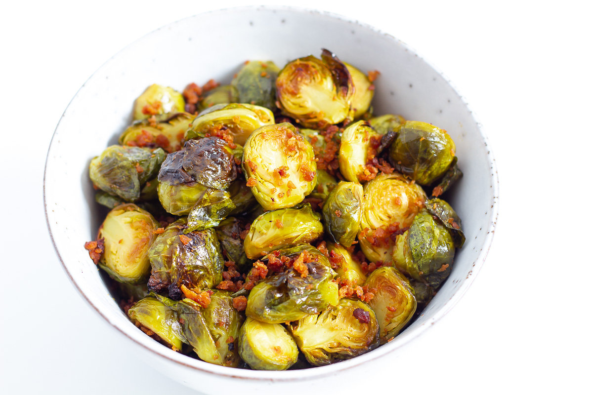 Oven Roasted Brussels Sprouts with Vegan Bacon