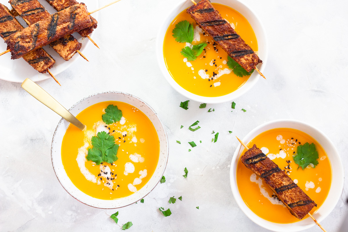Vegan Thai Pumpkin Soup with Tofu Skewers