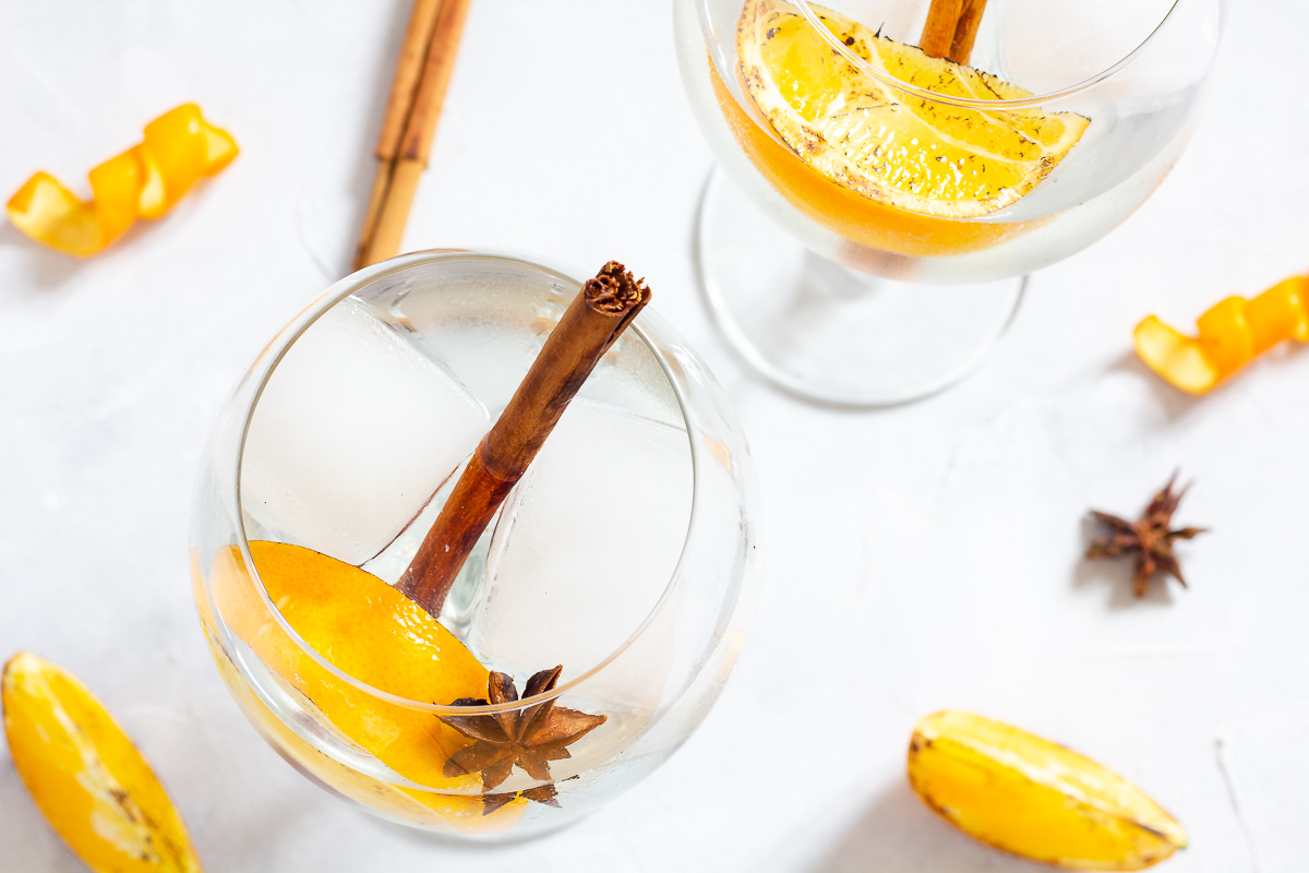Winter Gin and Tonic with Orange, Cinnamon and Star Anise