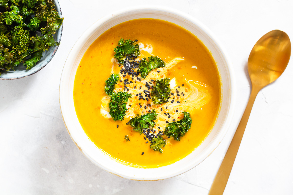 Oriental Carrot Soup with Kale Chips