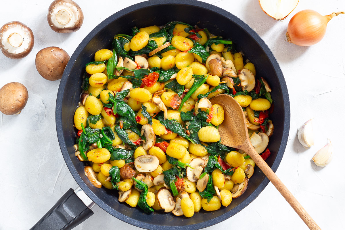 Vegan Pan Fried Gnocchi with Spinach & Mushrooms