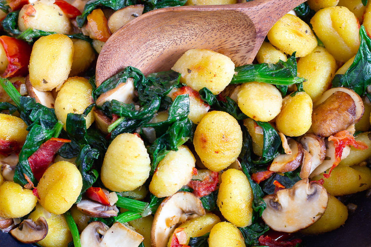 Vegan Pan Fried Gnocchi with Spinach & Mushrooms