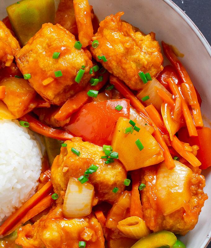 Gebackener Tofu süß-sauer