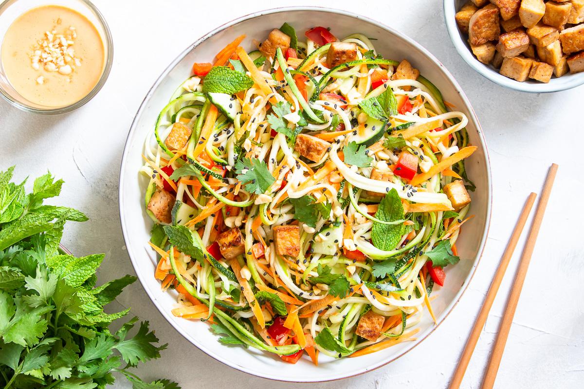 Vietnamese-Style Zucchini Salad with Peanut Sauce